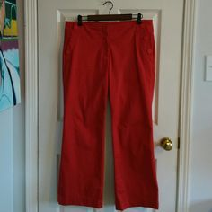 SOLD! Red Loft Petite Sailor Slacks Size 12P Wide leg, three anchor buttons on each front pocket. Great condition, worn once, some hanger marks on top band (see photo.) 98% cotton, 2% spandex. Zipper and two hook closure. LOFT Pants Wide Leg