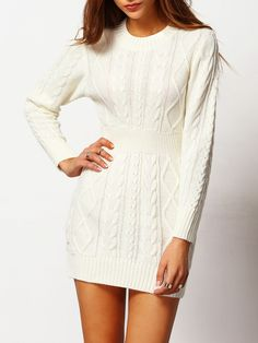 09d0c2378c White Crew Neck Cable-knit Bodycon Sweater Dress 23.69 Robe En Maille, Robe  Moulante
