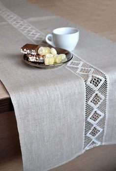 Linen table Runner wedding party table decor runner Rustic Runner Lace Table Decor Natural Linen Runner Cottage Table Runner Event runner - Table so runner table decoration with lace tablecloths linen runner Natural life In most of the hou - Linen Tablecloth, Table Linens, Lace Tablecloths, Elegant Table, Nature Decor, Cottage Chic, French Cottage, Shabby Cottage, Table Runners