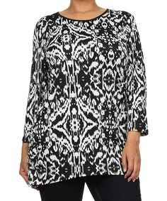 Love this White & Black Ikat Three-Quarter Sleeve Top - Plus by Come N See on #zulily! #zulilyfinds