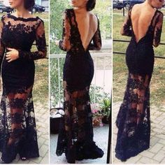 Long sleeves black lace prom dresses backless mermaid lace prom gown - Thumbnail 5