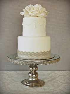 Simple #wedding #cake. Love the lace instead of ribbon.