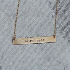 • MAMA BEAR • Nashelle Identity Bar Necklace - $79 • [one plate of food donated for every piece of jewelry sold] •