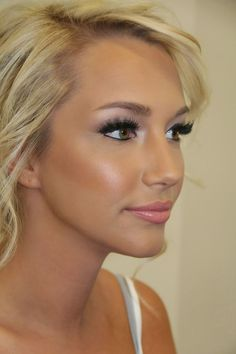 """the """"Angel look"""": light colors on the lids with smoked out corners and a hint of soft pink to the lips. Perfect wedding makeup"""
