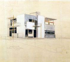 Gerrit Rietveld, Schröder house: perspective sketch, 1924