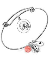 Unwritten Football Charm and Cherry Quartz Stone (8mm) Bangle Bracelet in Stainless Steel - Macys