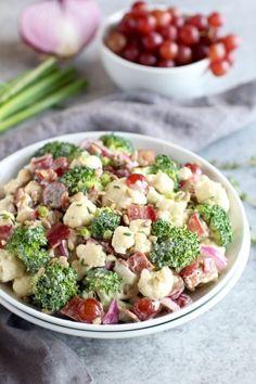 Broccoli-Cauliflower Salad (Whole30) | healthy salad recipes | homemade broccoli salad recipes | how to make broccoli salad | Whole30 salad recipes | Whole30 side dishes | dairy-free broccoli salad | dairy-free salad recipes | grain-free broccoli salad | grain-free salad recipes | paleo broccoli salad | paleo side dishes || The Real Food Dietitians #broccolisalad #whole30salad #healthysalad