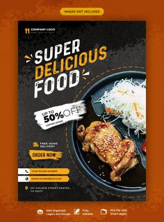 Food Menu And Restaurant Flyer Template Food Graphic Design, Food Menu Design, Food Poster Design, Food Packaging Design, Graphic Design Posters, Web Design, Poster Designs, Banner Template, Flyer Template