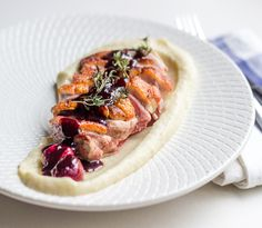 I love having duck with good citrusy/red wine sauce. So I'm gonna share my favourite - Crispy skin duck breast with cherry jus and celeriac puree.