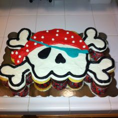 Pirate cupcake cake I made for my son's 1st Birthday