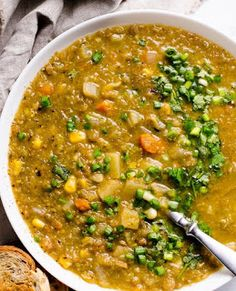This Slow Cooker Lentil Soup is the best set-and-forget healthy vegetarian soup with hearty texture and umami flavour. Just turn on your crockpot and walk away. Slow Cooker Lentil Soup, Healthy Soup Vegetarian, Lentil Soup Recipes, Crock Pot Slow Cooker, Vegetarian Recipes, Healthy Recipes, Savoury Recipes, Healthy Foods, Crockpot Recipes