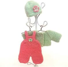 Knitted toddler outfit for - 5 inches OOAK baby doll/ Miniature doll clothes pink and mint set: trousers, jacket and hat by AnnaToys on Etsy Crochet Flower Hat, Flower Hats, Crochet Hats, Tiny Dolls, Miniature Dolls, Toddler Outfits, Hand Knitting, Doll Clothes, Miniatures