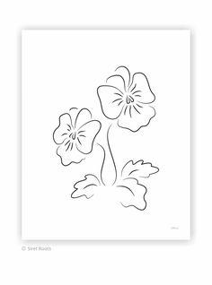 Pansies art print. Black and white flower art. Two line art flowers. Viola drawing. Ink sketch art print on paper. Line Sketch, Sketch Art, Line Drawing, Line Art Flowers, Flower Art, Elegant Flowers, White Flowers, Pansies, Ink