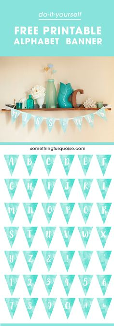 Adorable FREE printable watercolor alphabet banner, you can make it say anything you want!Adorable FREE printable watercolor alphabet banner, you can make it say anything you want! Party Printables, Free Printables, Freebies Printable, Printable Templates, Printable Art, Create A Banner, Diy Banner, Coral Design, Shower Banners