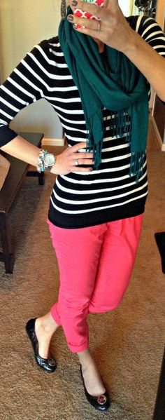 Blue scarf striped sweater and pink pants. Adorable outfit