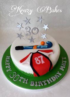 6 year old birthday cake Hockey Birthday Cake, Hockey Party, Themed Birthday Cakes, 30th Birthday, Hockey Cakes, Field Hockey Sticks, Happy 30th, Celebration Cakes, Icing