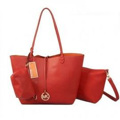 """Michael Kors Charm Logo Large Red Totes Outlet Size:11 4/5"""" x 4"""" x 11 4/5 -Leather -Golden hardware -Hanging logo charm -Small bags with big bag -Double handles -Inside zip, cell phone and multifunction pockets"""