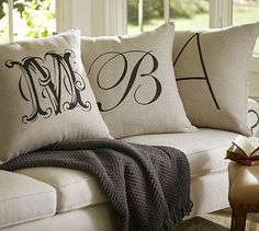Personalized Alphabet Pillow Cover #potterybarn love the green one with an M for michelle - go for the 18""