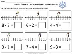 Number line and dinosaurs Freebie! Adding and subtracting with dinosaur number line fun! 2 pages of addition practice(sums to and 2 pages of subtraction practice(numbers to 6 problems per page. Math Classroom, Kindergarten Math, Teaching Math, Math Addition, Addition And Subtraction, Addition Games, Math Resources, Math Activities, Dinosaur Activities