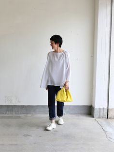 art & science-love! white sneakers - rolled denim - soft white blouse - bright yellow bag
