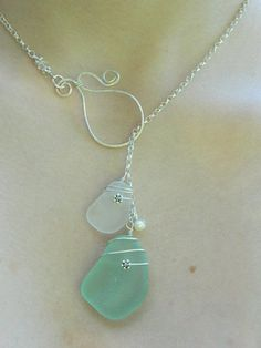 Sea glass lariat necklace by MadeByTheBaySeaGlass on Etsy, $50.00