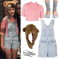 Melanie Martinez met with fans at her Cry Baby Tour in Atlanta wearing the American Apparel Stevie Top ($28.00) in Paulette Pink, Topshop MOTO Short Denim Dungarees (sold out) – similar style ($70.00), Urban Outfitters Yoga Slouch Crew Socks ($14.00, sold out), and her custom bear hat by Stella. You can buy a similar hat from Amazon ($17.99, pictured).