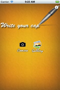 Write Your Cap ($0.00) This app allows you to take a picture or choose an existing one and write text to it.  Unlike all the random captions applications, in here you can choose whatever u think is best for the picture.  You have an option to save the image to your device
