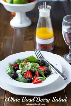 White Berry Salad. Spinach salad loaded with kiwis, blackberries, and strawberries served with a white balsamic basil and lemon infused dressing. ohsweetbasil.com