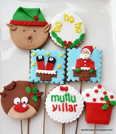 Christmas Sweets, Christmas Cookies, Xmas, Fondant, Galletas Cookies, Sugar Paste, Biscotti, Cookie Decorating, Gingerbread