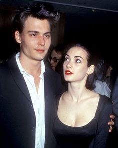 Johnny with Winona Ryder at the premiere for the movie Mermaids on December 10th, 1990