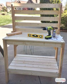 How a good outdoor buffet table can be helpful for you? gallery of excellent diy potting bench outdoor buffet table atta girl says VLEXWBY Outdoor Potting Bench, Pallet Potting Bench, Potting Tables, Potting Bench With Sink, Pallet Benches, Pallet Tv, Pallet Garden Furniture, Furniture Decor, Furniture Layout