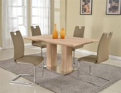 Josephine Light Oak Taupe PU 5pc Dining Room Set