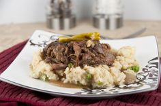 Slow Cooker Mississippi Pot Roast served over baked parmesan risotto (crock pot)