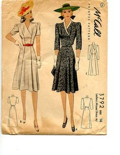 1940 Dress McCall 3792 Vintage Pattern by VioletCrownEmporium, $26.00