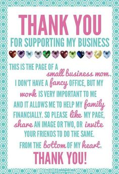 Thank you for supporting my business! - XO Deb from Deborah's Glamour Jewelry. I an an Independent Paparazzi Consultant. Small Business Quotes, Business Tips, Salon Business, Business Marketing, Media Marketing, Business Sayings, Consultant Business, Street Marketing, Independent Consultant