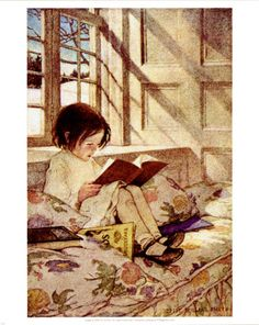 Books in Winter by Jessie Willcox Smith. I used this image in my lanyard when I worked at Borders. Now it's a magnet.