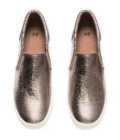 Slip-on sneaker with a crackled metallic finish, elastic panels at sides, and chunky rubber soles. | H&M Shoes