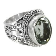 Sterling Silver Green Amethyst Oval Cutout Ring
