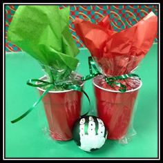 """Very Cute and CHEAP way to send home glass ornaments safely! Wrap bulb in tissue paper, dangle in solo cup, wrap cup in cellophane bag, tie with ribbon. Bulb """"floats"""" in cup. Preschool Christmas, Christmas Activities, Christmas Projects, Winter Christmas, Christmas Themes, Holiday Crafts, Holiday Fun, Christmas Holidays, Christmas Ornaments"""