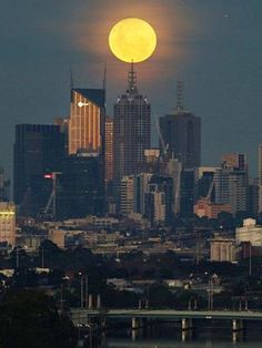 The supermoon rises over the Melbourne skyline on June 2013 Melbourne Skyline, Places In Melbourne, Visit Melbourne, Melbourne Travel, Melbourne Victoria, Victoria Australia, Australia Living, Australia Travel, Melbourne Australia