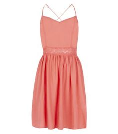 Coral Strappy Cross Back Crochet Waist Skater Dress from New Look