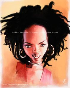 Pinned using PinFace! Lauryn Hill, African American Artist, American Artists, Denis Zilber, Funny Caricatures, Pantomime, David, Funny Faces, Black Is Beautiful