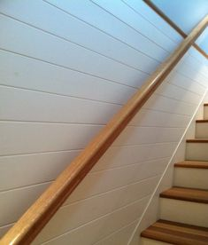 Primed Pine Paneling is a beautiful wall boarding, wall siding option for interiors - easy to install pre-primed pine white color that many customers love. Basement Stairs, House Stairs, Basement Ideas, Basement Renovations, House Renovations, Beadboard Wainscoting, Siding Options, Chair Rail Molding, Pine Walls