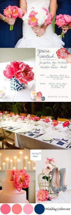 Summer Wedding Palette|Coral Charm & Navy