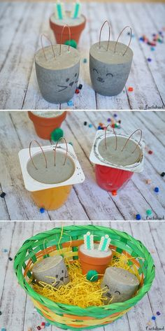 Beton-Hasen-DIY als Osterdeko. Aus Fruchtzwergen lassen sich tolle Beton-Osterha… Concrete Bunny DIY as Easter decoration. From Fruchtzwergen can conjure up great concrete Easter bunnies. That's easy. Happy Easter, Easter Bunny, Easter Tree, Diy For Kids, Crafts For Kids, Diy 2019, Diy Y Manualidades, The Conjuring, Easter Crafts