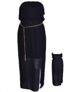 BLACK STRAPLESS SHEER MAXI DRESS WITH GOLD CHAIN BELT  WHOLESALE PLUS SIZE DRESSES  D4568-35 PLUS SHEER MAXI DRESS UNIT PRICE$15 1-1-1PACKAGE (3PCS