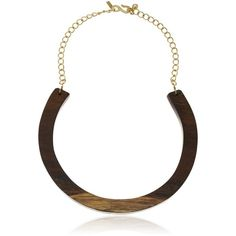 Kenneth Jay Lane Wood Bib with Polished Gold Chain Necklace ($75) ❤ liked on Polyvore featuring jewelry, necklaces, wood chain necklace, gold chain necklace, yellow gold chain necklace, wooden jewelry and chain necklaces