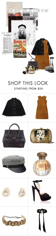 """for luna"" by summersdream ❤ liked on Polyvore featuring Henri Bendel, Laurence Doligé, Versace, Serpui, Eugenia Kim, Tocca, Dezso by Sara Beltrán, Christian Louboutin, Deepa Gurnani and Luna"