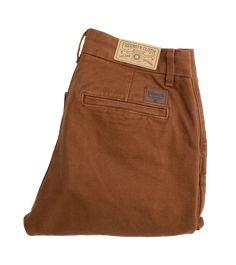 14oz - Workers Slim Fit Chino - Slub Rust | James Dant - Purveyors of Men's Goods Slim Fit Chinos, Raw Denim, Something Old, Stretch Pants, Herringbone, Rust, Oxford, Tights, Bucket