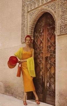 Gorgeous Moroccan door & fabulous model. 1953